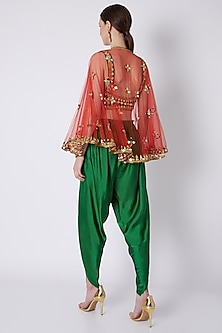 Green & Red Embroidered Dhoti Set by Preeti S Kapoor