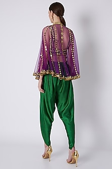 Green & Purple Embroidered Dhoti Set by Preeti S Kapoor