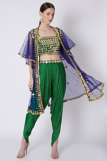 Green & Blue Mirrors Embroidered Dhoti Set by Preeti S Kapoor