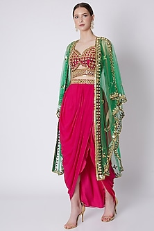 Red & Green Embroidered Skirt Set by Preeti S Kapoor