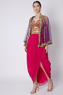 Red & Blue Embroidered Skirt Set by Preeti S Kapoor