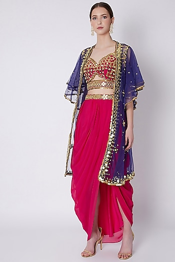 Red & Blue Mirrors Embroidered Skirt Set by Preeti S Kapoor