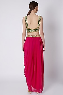 Red & Green Mirrors Embroidered Skirt Set by Preeti S Kapoor