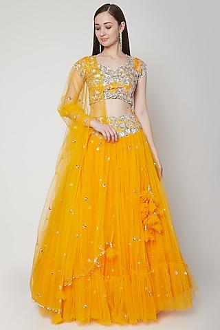 Orange Sequins Embroidered Lehenga by Preeti S Kapoor