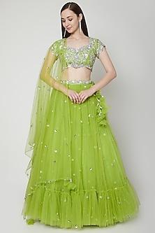 Olive Green Embroidered Lehenga Set by Preeti S Kapoor