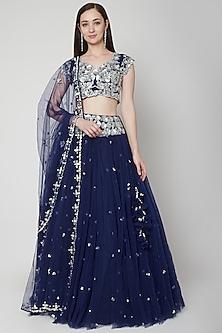 Midnight Blue Embroidered Lehenga Set by Preeti S Kapoor