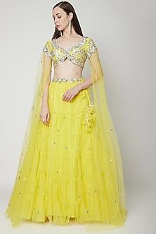 Yellow Embroidered Lehenga Set by Preeti S Kapoor
