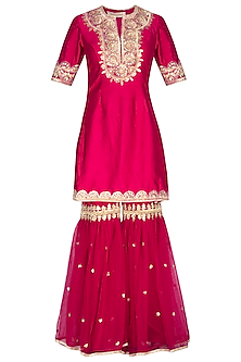 Fuchsia Embroidered Gharara Set by Preeti S Kapoor