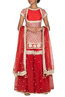 Red Embroidered Gharara Set by Preeti S Kapoor