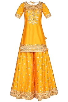 Mustard Embroidered Sharara Set by Preeti S Kapoor