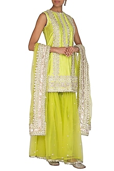 Lime Green Embroidered Gharara Set by Preeti S Kapoor