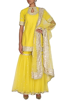 Yellow Embroidered Gharara Set by Preeti S Kapoor