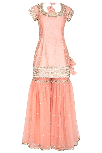 Pink Embroidered Gharara Set by Preeti S Kapoor