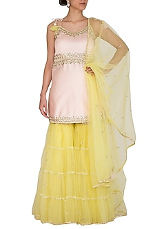 Soft Pink & Yellow Embroidered Gharara Set by Preeti S Kapoor