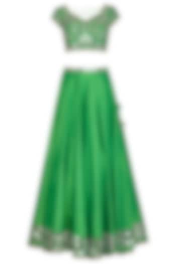 Green Embroidered Lehenga Set by Preeti S Kapoor