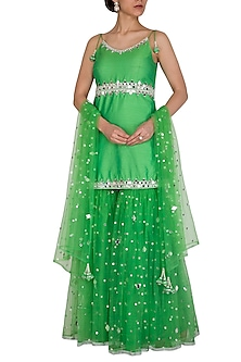 Green Embroidered Gharara Set by Preeti S Kapoor