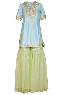 Turquoise & Pista Green Embroidered Gharara Set by Preeti S Kapoor