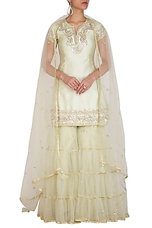 Pista Green Embroidered Gharara Set by Preeti S Kapoor