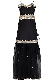 Black Embroidered Gharara Set by Preeti S Kapoor