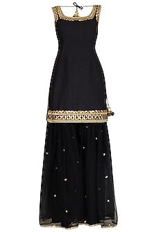 Black Gota Embroidered Gharara Set by Preeti S Kapoor