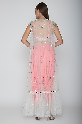 Blush Pink Embroidered Blouse With Dhoti Pants & White Cape by Preeti S Kapoor