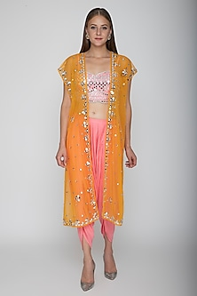 Blush Pink Embroidered Blouse With Dhoti Pants & Orange Cape by Preeti S Kapoor