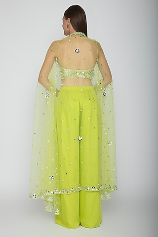 Lime Green Embroidered Blouse With Palazzo Pants & Cape by Preeti S Kapoor