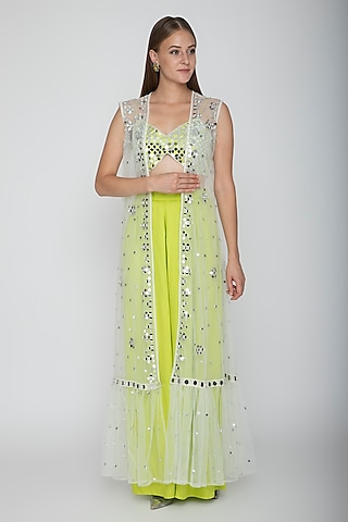 Lime Green Embroidered Blouse With Palazzo Pants & White Cape by Preeti S Kapoor