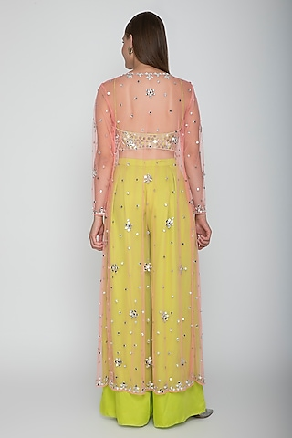 Lime Green Embroidered Blouse With Palazzo Pants & Blush Pink Cape by Preeti S Kapoor