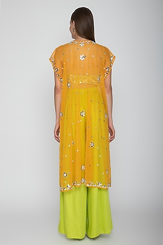 Lime Green Embroidered Blouse With Palazzo Pants & Orange Cape by Preeti S Kapoor