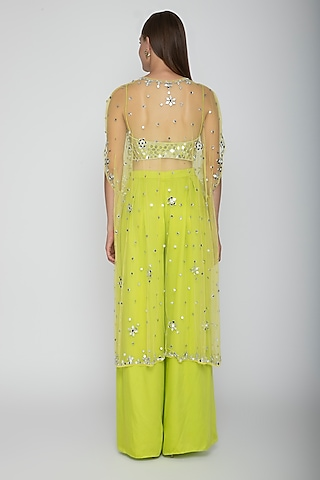 Lime Green Embroidered Blouse With Palazzo Pants & Net Cape by Preeti S Kapoor