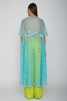 Lime Green Embroidered Blouse With Palazzo Pants & Sky Blue Cape by Preeti S Kapoor