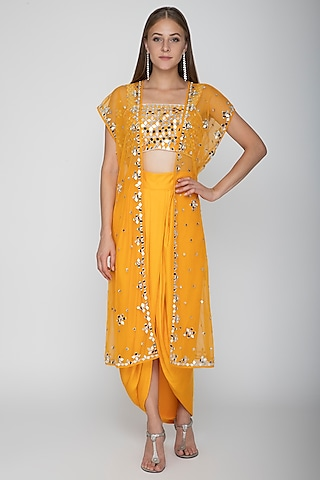 Orange Embroidered Blouse With Dhoti Skirt & Cape by Preeti S Kapoor