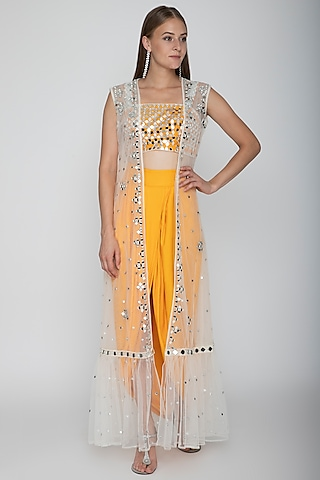 Orange Embroidered Blouse With Dhoti Skirt & White Cape by Preeti S Kapoor