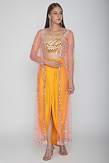 Orange Embroidered Blouse With Dhoti Skirt & Blush Pink Cape by Preeti S Kapoor