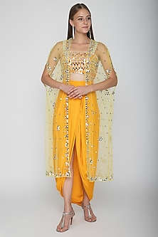 Mango Yellow Embroidered Blouse With Dhoti Skirt & Yellow Cape by Preeti S Kapoor