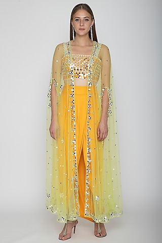 Mango Yellow Embroidered Blouse With Dhoti Skirt & Lime Yellow Cape by Preeti S Kapoor