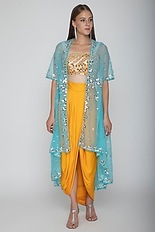 Mango Yellow Embroidered Blouse With Dhoti Skirt & Sky Blue Cape by Preeti S Kapoor