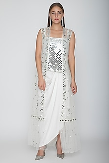 White Embroidered Blouse With Dhoti Skirt & Cape by Preeti S Kapoor