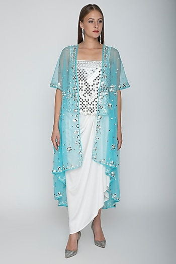 White Embroidered Blouse With Dhoti Skirt & Sky Blue Cape by Preeti S Kapoor