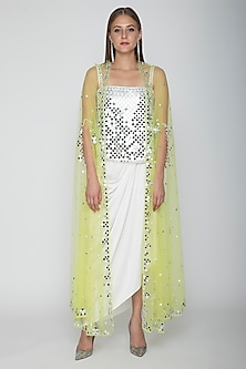 White Embroidered Blouse With Dhoti Skirt & Lime Yellow Cape by Preeti S Kapoor