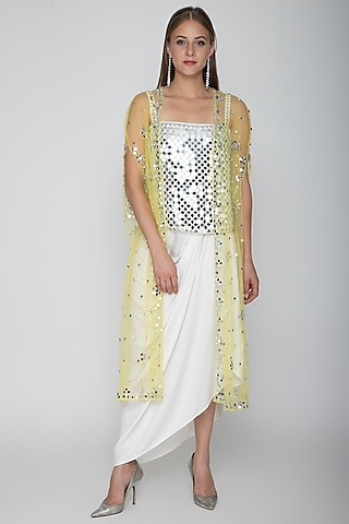 White Embroidered Blouse With Dhoti Skirt & Yellow Cape by Preeti S Kapoor