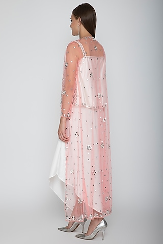 White Embroidered Blouse With Dhoti Skirt & Blush Pink Cape by Preeti S Kapoor