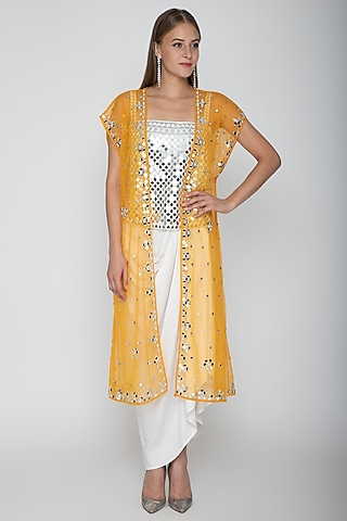 White Embroidered Blouse With Dhoti Skirt & Orange Cape by Preeti S Kapoor