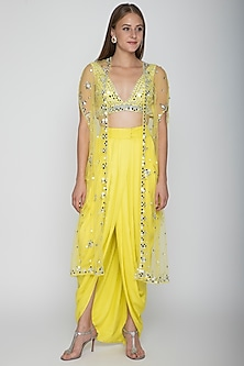 Yellow Embroidered Blouse With Dhoti Skirt & Cape by Preeti S Kapoor