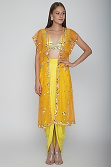 Yellow Embroidered Blouse With Dhoti Skirt & Orange Cape by Preeti S Kapoor