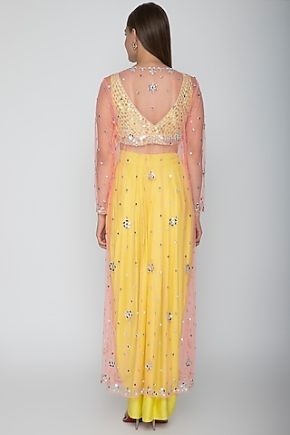 Yellow Embroidered Blouse With Dhoti Skirt & Blush Pink Cape by Preeti S Kapoor