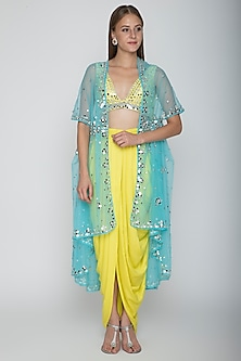 Yellow Embroidered Blouse With Dhoti Skirt & Sky Blue Cape by Preeti S Kapoor