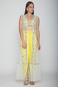Yellow Embroidered Blouse With Dhoti Skirt & White Cape by Preeti S Kapoor-SHOP BY STYLE