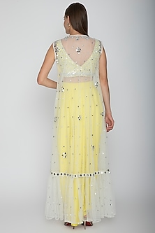 Yellow Embroidered Blouse With Dhoti Skirt & White Cape by Preeti S Kapoor